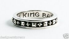 King Baby Studio Sterling Silver Stackable Studded Ring w/ MB Crosses size 11
