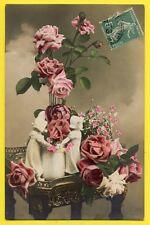 cpa Fantaisie FLEURS Vase Guéridon BOUQUET de ROSES Edition d'Art P.H., PARIS