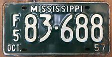 1 Antique Vintage 1957 Mississippi Car Truck Farm Tag License Plate Green White