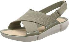 Clarks Ladies Tri Chloe Strap Sandals Light Green Nubuck Size 6.5/40 D
