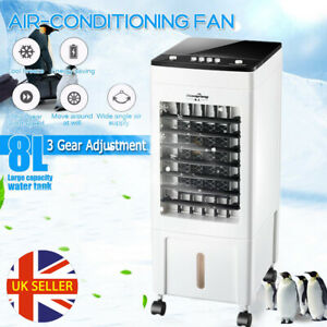 8L Air Cooler Portable Humidifier Evaporative Floor Cool Cooling Fan 3 Speeds