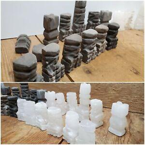 Vintage Aztec Handmade Chess Pieces Slate and White Quartz | Incomplete