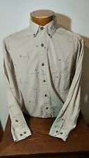 Woolrich Sage Fishing Rods Mens Button Front Long Sleeve Shirt Khaki Large