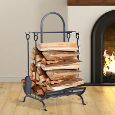 Firewood Rack Fire Wood Storage Stacking Set with 4 Tools, Black