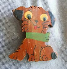 Cute Hand-painted Carved Wooden Dog Brooch 1940s vintage