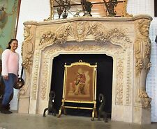 Magnificient Large Hand Carved Italian Marble Fireplace Mantle Satyrs & Goddess