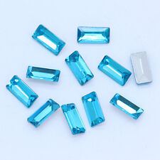9p 7x21mm rectangle point back crystal cut glass stone foiled rhinestones jewels
