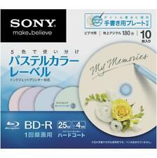 New 10 Sony Printable Blu-ray 25GB 4x BD-R Blank Disc Pastel Colors Japan