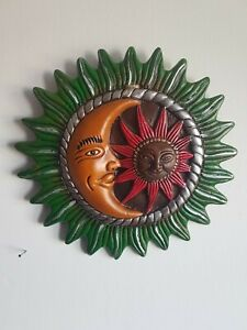 Sun and Moon Hand Painted Ceramic Wall Plaque 23cm Fairtrade