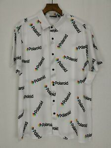 BNWT | Polaroid | Button Up Short Sleeve Retro Shirt | Size Large | White | 80s