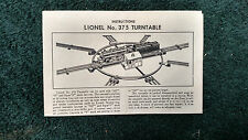 LIONEL # 375 TURNTABLE INSTRUCTIONS PHOTOCOPY