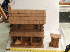Vintage Hand-Made Folk Art Primitive Wood Log Cabin Rustic House Model STONE #4