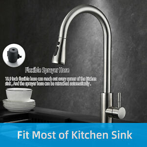 360° Swivel Spout Kitchen Sink Mixer Taps Pull Out Spray Faucet Single Lever