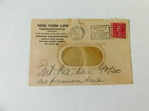 US #606 on New York Life Insurance window envelope, 1930, writing by recipient