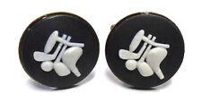 "Wedgwood: Antiqued Brass & Jasperware Cameo Cufflinks  ""Golf Clubs"" Black"