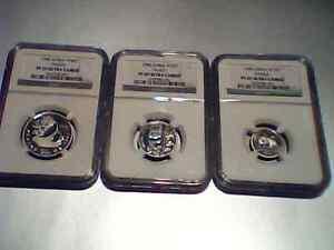 1990 china panda 3 platinum coins set all with NGC PF69