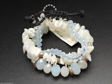 Kenneth Cole Stack Bracelet Set Of Three Blue White Shells Leather Slide New!