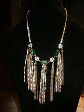 Jessica Simpson STATEMENT Chain RUNWAY Green Rhinestone/Silvertone Necklace NWT