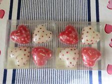 2 4 piece Sets Valentine Decor Heart Shape Votive Candles Red Polka Dots NIP A