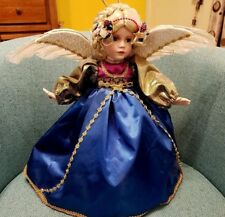 Musical ANGEL Doll 15 in. with FEATHER WINGS Blue Dress Gold Sleeves Highlights
