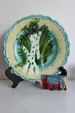 FRENCH SALINS MAJOLICA ASPARAGUS PLATE barbotine dish