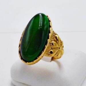RING MEN GREEN CAT EYE SYN STONE STAINLESS STEEL YELLOW GOLD HUGE OVAL SIZE 10.5