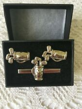Men's Sport Modern Golf Bag (with clubs) Cufflinks and Tie Clip Set - Boxed