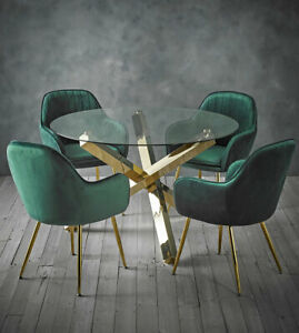 Dining set round glass table with gold legs and 4 green velvet dining chairs