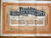 1914 Franklin Mining Company Mining Stock Certificate