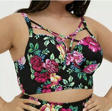 Torrid 4X DD/F Bikini Swim Top Strappy Lattice Floral Balconette Pin Up Plus