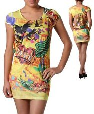 Sexy Yellow Heart Angel Wing Rhinestone Tattoo Sublimation Mini Dress Size Small