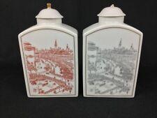 Bing & Grondahl TWO (2) Cityscape Urban Scene Tea Caddies Red and Black