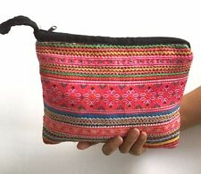 HMONG HILL TRIBE THAI COTTON EMBROIDERD ETHNIC CLUTCH BAG COSMETIC PURSE BOHO #3
