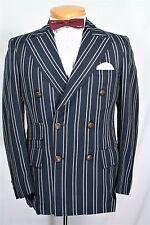 VTG 60 70s BLUE Double Breasted STRIPE PREPPY Blazer 36 38 R Jacket HAMPTONS