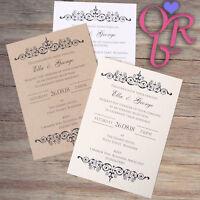 10 Handmade Wedding Invitations Day Evening Invites inc Envelopes Vintage Rustic