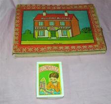 2 Vtg 1950'S Japan Wood Block Toy Play Sets Iob, Create Putz Houses & Buildings