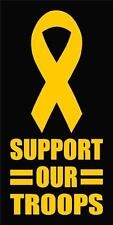 "SUPPORT OUR TROOPS Yellow Ribbon Vinyl Window Decal/Sticker 5""H"