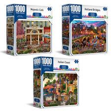3x 1000pc Crown Grand Bridges/Coast/Cafe Set 68.5cm Jigsaw Puzzles Toys 8+ Kids