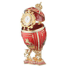 Russian Faberge Egg / Trinket box 3 Sights of Petersburg & clock 7.1'' 18cm red