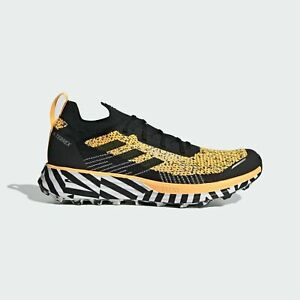 adidas Terrex Two Parley Men Trail Running Shoe -White/ Blk Yellow  FW7141 Sz 11