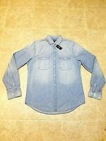 Express Men's Denim Patch Pocket Shirt Light Blue New Size M,L,XL
