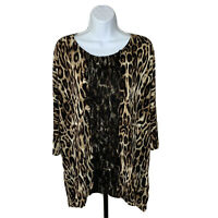 Womens Chicos Top Size 2 Leopard Print Brown Black Lace Accent Front Blouse