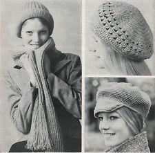 Vintage Crochet & Knitting Pattern Lady's Hats/Cap/Beret & Scarf