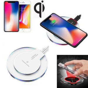 Clear Qi Wireless Fast Charger Charging Pad For Samsung Note 8 S8 S7 iPhone X 8