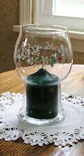 "NEW Pfaltzgraff WINTERBERRY 7-3/4"" Glass Pillar Float Candleholder w/New Candle"