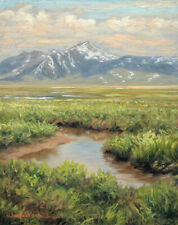 Original Oil Painting - FRAMED Landscape Art, Mountains and Creek by Chuck Black