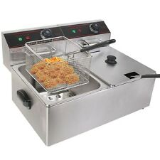 New 5000W Electric Countertop Deep Fryer Dual Tank Commercial Restaurant Steel