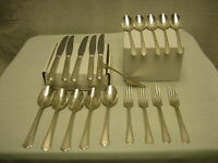 Vintage 20 Piece Silverware Valencia Silverplate Set Steel Knives Spoons Forks