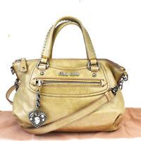 Auth MIU MIU Rhinestone Studded 2Way Shoulder Hand Bag Leather Beige 60MB894