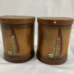 Leather and Wood Book Ends Oil Well Derrick Country Oil Field Library